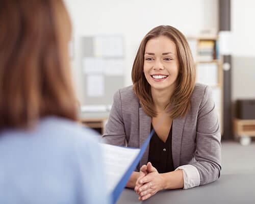 smiling woman at interview